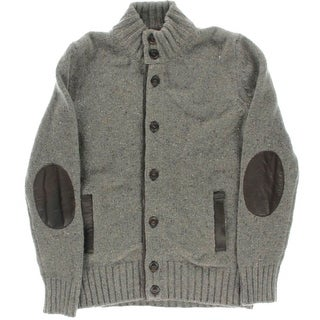 The Men's Store Mens Wool Leather Trim Cardigan Sweater