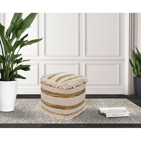 Chic Home Avis Ottoman Cotton Wool Upholstered Round Pouf