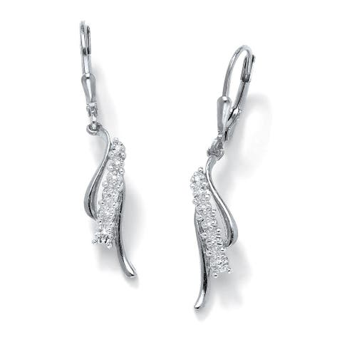 Platinum over Sterling Silver Diamond Accent Waterfall Drop Earrings