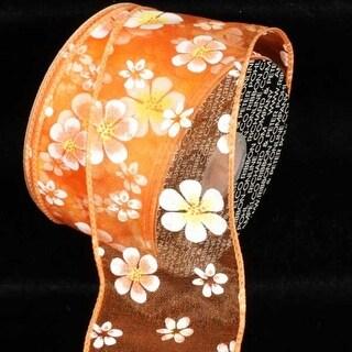 "Sheer Orange Magnolia Flower Print Wired Craft Ribbon 2.5"" x 40 Yards"