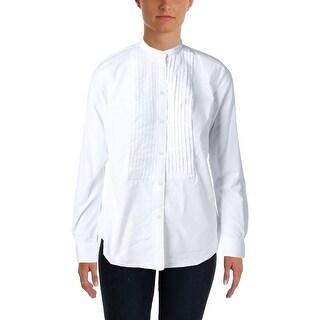 Lauren Ralph Lauren Womens Button-Down Top Long Sleeves Tuxedo