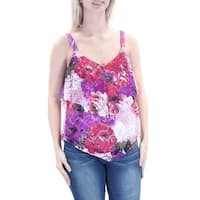 INC Womens Purple Embroidered Lace Sleeveless V Neck Top  Size: S