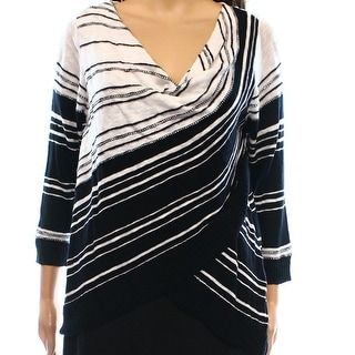 INC NEW Black White Women's Size Medium M Cowl Neck Striped Sweater