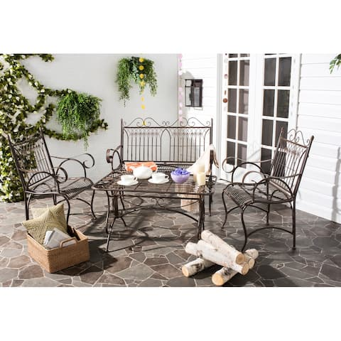 SAFAVIEH Outdoor Living Rustic Leah 4-piece Brown Iron Patio Set