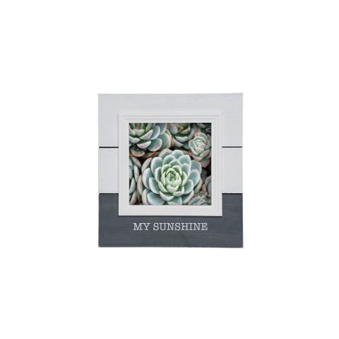 """Foreside Home & Garden White and Gray """"My Sunshine"""" 5 x 5 inch Decorative Wood Picture Frame"""