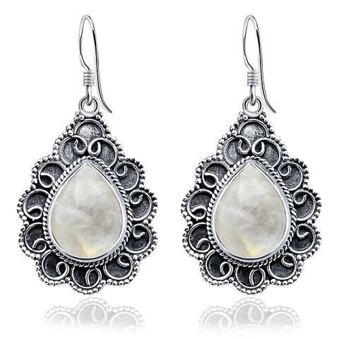 Tiger Eye, Rainbow Moonstone Sterling Silver Pear Dangle Earrings by Orchid Jewelry