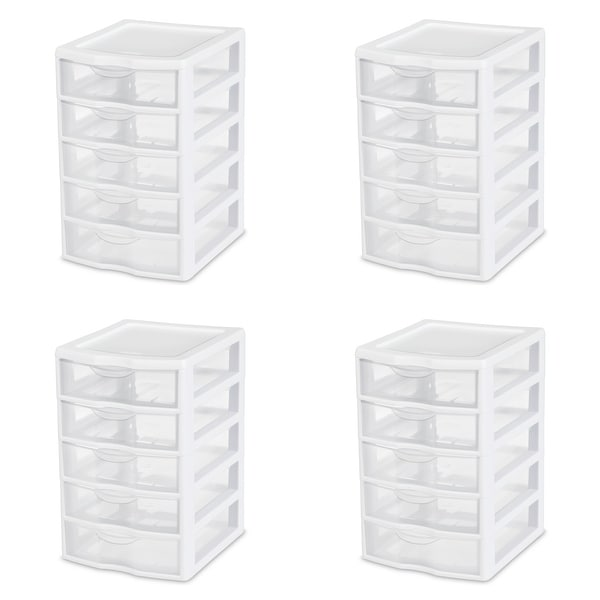 STERILITE Small 5 Drawer Units, Clear - Case of 4. Opens flyout.