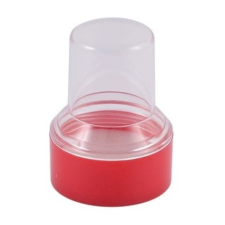 School Office Plastic Round Shaped Stamp Stamper Box Storage Case Clear Red