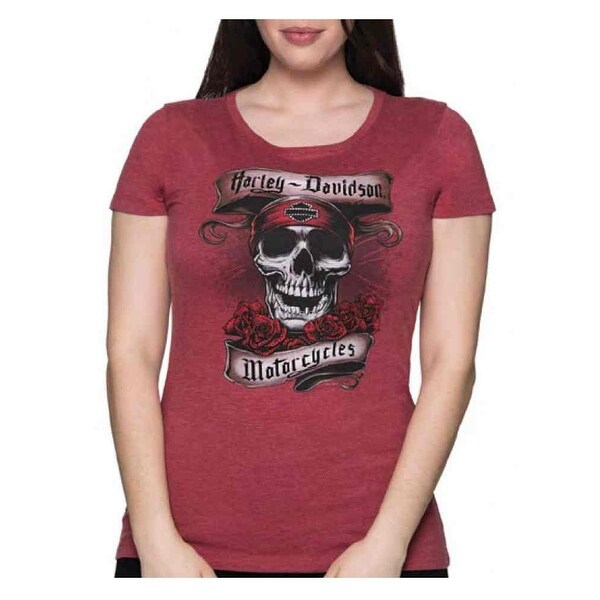 Harley-Davidson Women's Ritual Ride Embellished Short Sleeve Tee - Dark Red