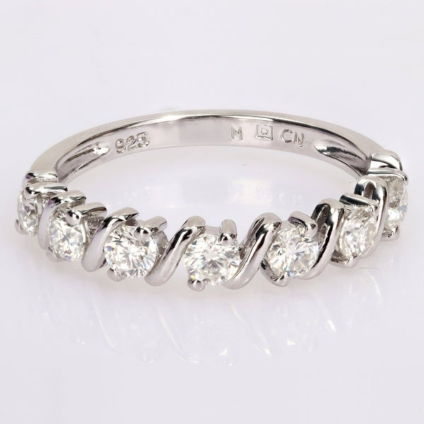 Miadora 3/4ct DEW Moissanite Semi-Eternity Wedding Band Ring in Sterling Silver. Opens flyout.