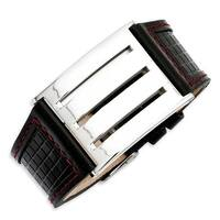Stainless Steel Black Leather with Red Trim 9.25in Buckle Bracelet