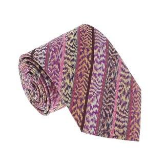 Missoni U4305 Pink/Purple Flame Stitch 100% Silk Tie - 60-3