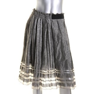 Elie Tahari Womens Luna Silk Sheer Striped Pleated Skirt - 6