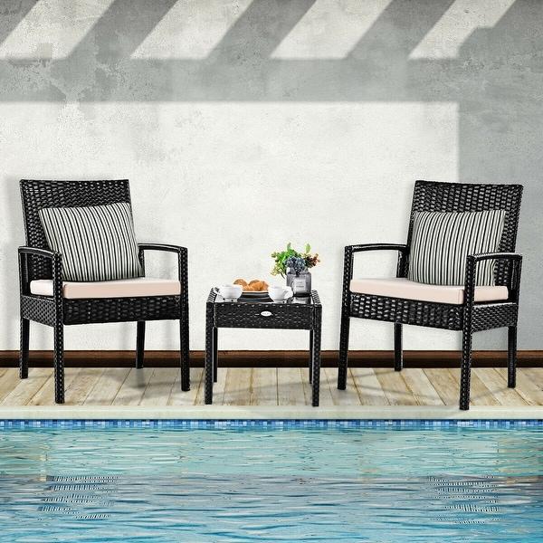 Costway 3 PS Outdoor Rattan Patio Furniture Set Backyard Garden