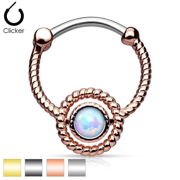 Roped Circle with Single Opal IP 316L Surgical Steel Round Septum Clicker (Sold Ind.)