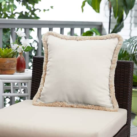 Sunbrella Canvas Natural Indoor/ Outdoor Square Pillow with Fringe