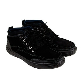 Skechers Porter Repton Mens Black Leather Casual Dress Lace Up Oxfords Shoes