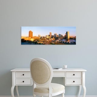 Easy Art Prints Panoramic Images's 'Maryland, Baltimore, Federal Hill Park, Inner Harbor area and skyline' Canvas Art