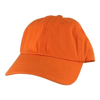 Plain Low Unstructured C1163 Cotton Curve Bill Adjustable Strapback Dad Cap - Orange