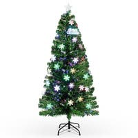 BELLEZE 6-feet Multicolor Led Light Artificial Living Room Home Indoor Christmas Tree with Stand