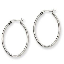 Chisel Stainless Steel 25mm Diameter Oval Hoop Earrings