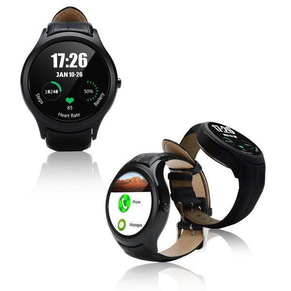 Indigi® A6 Bluetooth 4.0 SmartWatch & Phone w/ Pedometer + Accurate Heart Monitor + WiFi + GPS + Full Android 4.4 KitKat - Black