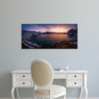 Easy Art Prints Panoramic Images's 'Vikbukta Bay, Haukland Beaches, Vestvagoya, Lofoten, Nordland, Norway' Canvas Art