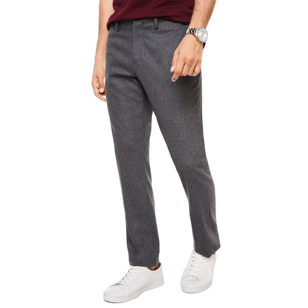 3f62cae277a5fe Shop Michael Kors Mens Slim Fit Flannel Trousers 36x32 Ash Melange - Free  Shipping Today - Overstock - 23581816