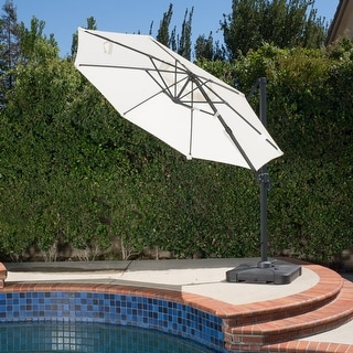 Link to Puebla Outdoor 9.8-foot Canopy Umbrella with Base by Christopher Knight Home Similar Items in Patio Umbrellas & Shades