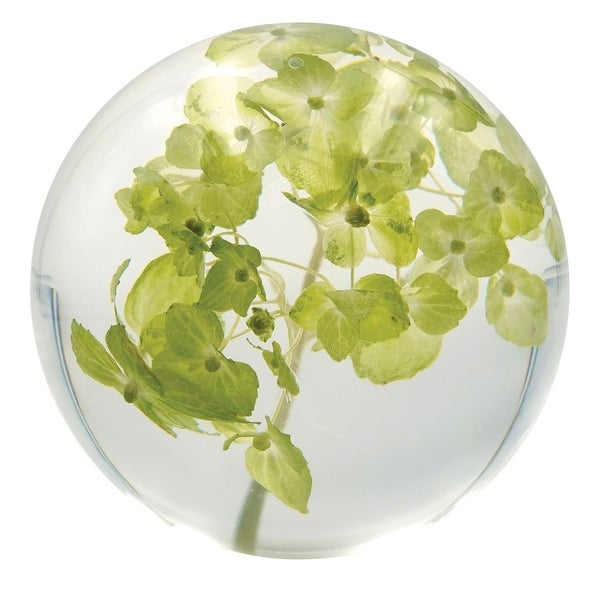 Dynasty Gallery Hydrangea Round Resin Paperweight - Real Preserved Green Flowers - 3 in. x 3 in. x 3 in.