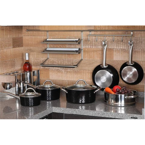 Kitchen Academy Premium Cookware - 15 Piece Interior Granite Pot Pan Set with Triple Coated Nonstick Aluminum Composition