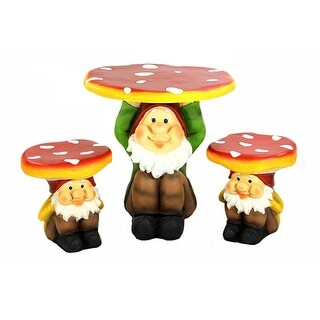 3-Piece Jolly Gnome Table and Chair Novelty Garden Furniture Set