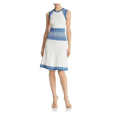 Shoshanna White Sleeveless Above The Knee Dress L