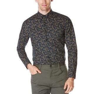 Perry Ellis Mens Casual Shirt Button-Down Collar Paisley