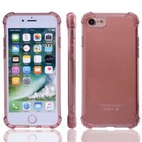 TPU Card Slots Sleeve Phone Case Crystal Back Cover Light Pink for iPhone 7