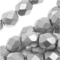Czech Fire Polished Glass Beads 6mm Round Matte Metallc Silver (25)