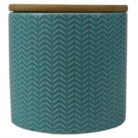 Wave Small Ceramic Canister, Turquoise