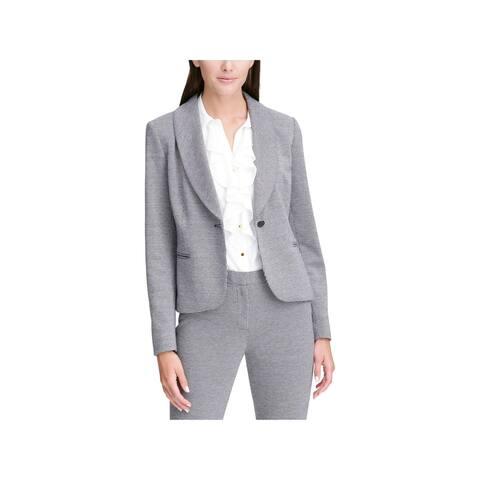 Calvin Klein Womens One-Button Blazer Shawl-Collar Mini Houndstooth