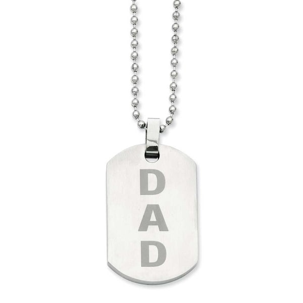 Stainless Steel Black Enamel Dad 24in Dogtag Necklace (2 mm) - 24 in