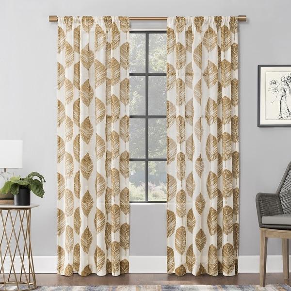 Scott Living Angelou Leaf Print Linen Blend Sheer Rod Pocket Curtain Panel