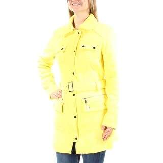 Womens Yellow Casual Trench Coat Size XL