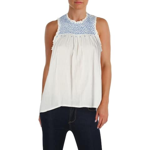 Aqua Womens Tank Top Embroidered Pleated