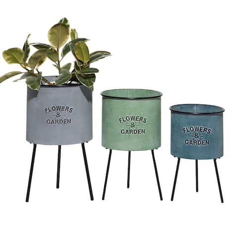 Multi Color Metal Planters w Flower And Garden Labeling, Set Of 3 - 12 x 12 x 20Round