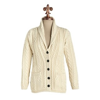Aran Woolen Mills Women's Merino Wool Grandad Cardigan Sweater - Cable Knit