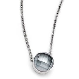 Chisel Stainless Steel Polished Grey Glass with 1 inch Extension Necklace (1 mm) - 18 in