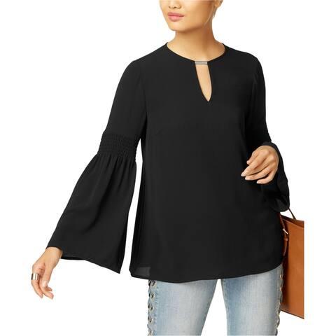 Michael Kors Womens Embellished Knit Blouse, black, Small