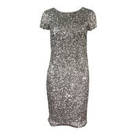 Adrianna Papell Women's Petite Scoop-Back Sequined Dress - Lead