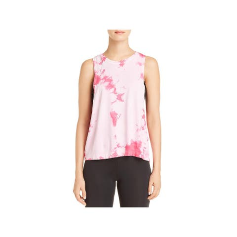 Spiritual Gangster Womens Super Nova Muscle Tank Tie-Dye Cropped - Pink
