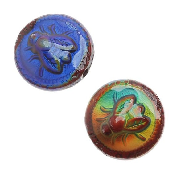 Mirage Color Changing Mood Beads - Bee-Lightful Round Spacers 19mm Diameter (2)