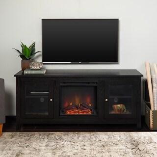 58-inch Black Finsih 2-Door Fireplace TV Stand Console